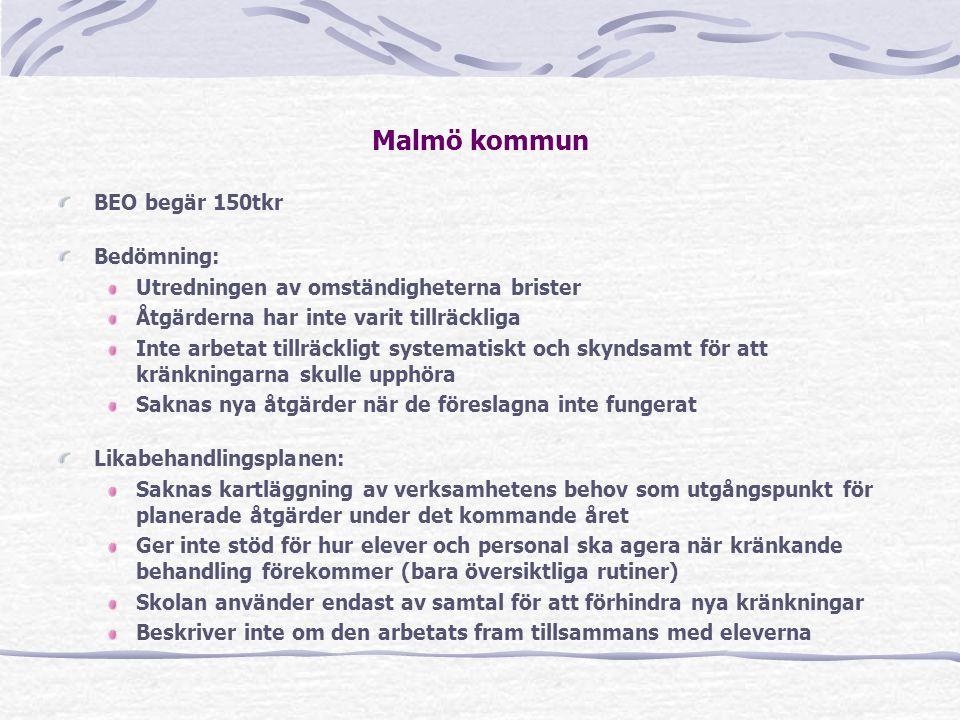 Malmö kommun BEO begär 150tkr Bedömning: Utredningen av omständigheterna brister Åtgärderna har inte varit tillräckliga Inte arbetat tillräckligt syst