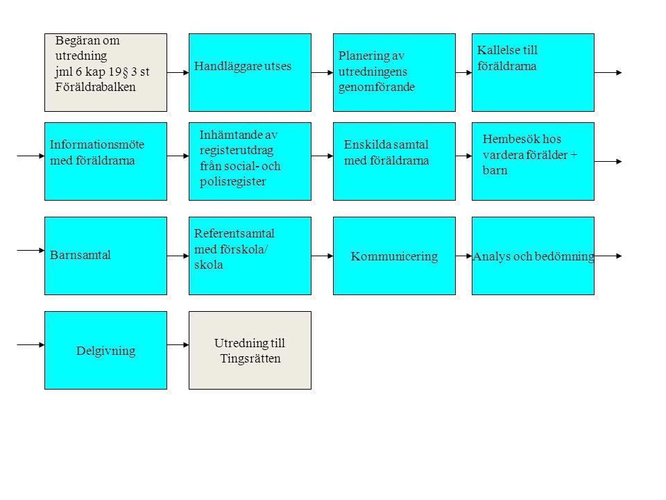 KommuniceringAnalys och bedömning Delgivning Utredning till Tingsrätten Begäran om utredning jml 6 kap 19§ 3 st Föräldrabalken Handläggare utses Plane