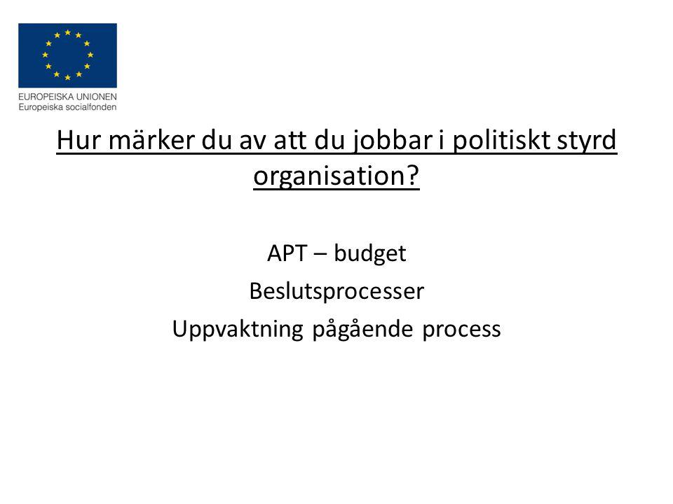 Hur märker du av att du jobbar i politiskt styrd organisation.