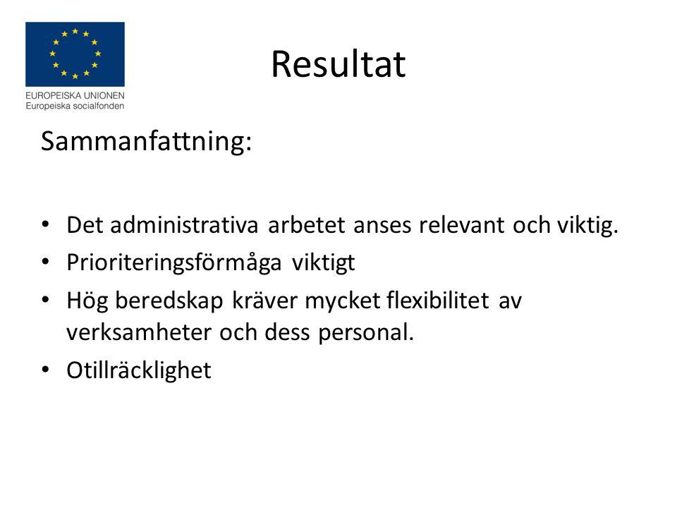 Resultat Sammanfattning: Det administrativa arbetet anses relevant och viktig.
