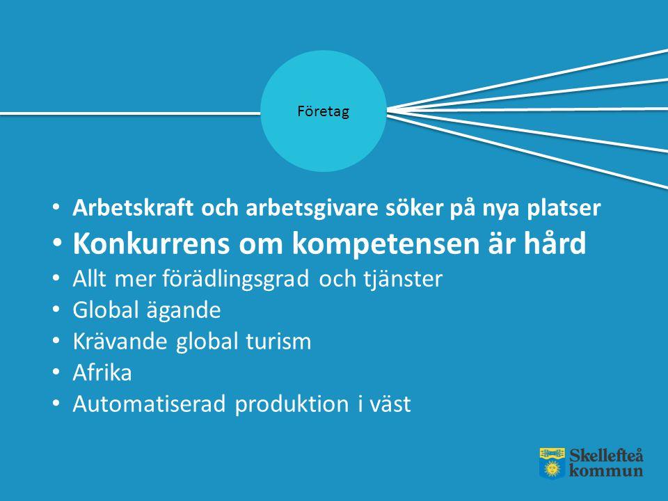 Företag Arbetskraft och arbetsgivare söker på nya platser Konkurrens om kompetensen är hård Allt mer förädlingsgrad och tjänster Global ägande Krävand
