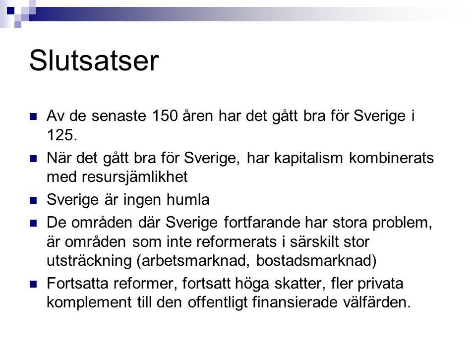 Slutsatser Av de senaste 150 åren har det gått bra för Sverige i 125.