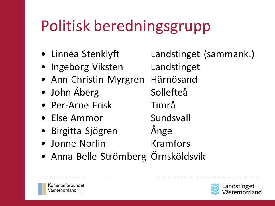 Politisk beredningsgrupp Linnéa Stenklyft Landstinget (sammank.) Ingeborg Viksten Landstinget Ann-Christin Myrgren Härnösand John Åberg Sollefteå Per-