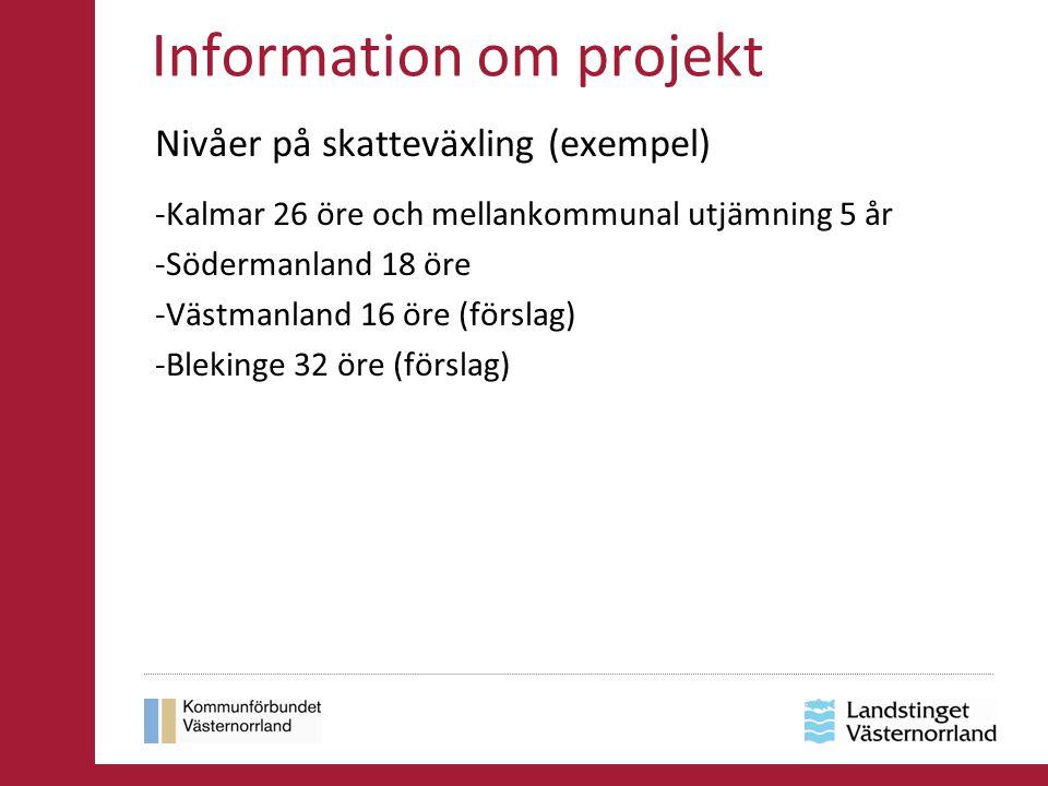 Information om projekt Nivåer på skatteväxling (exempel) -Kalmar 26 öre och mellankommunal utjämning 5 år -Södermanland 18 öre -Västmanland 16 öre (fö
