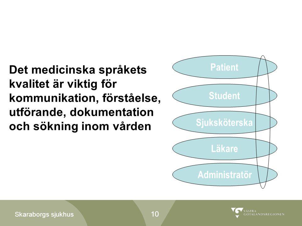 Skaraborgs sjukhus Det medicinska språkets kvalitet är viktig för kommunikation, förståelse, utförande, dokumentation och sökning inom vården Patient