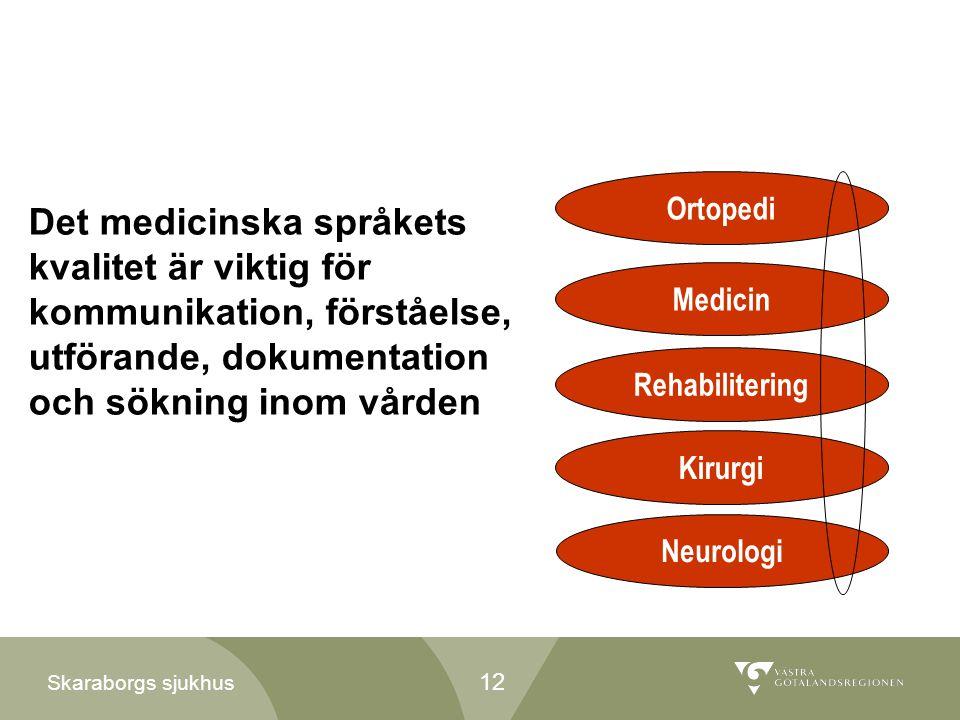 Skaraborgs sjukhus Ortopedi Medicin Rehabilitering Kirurgi Neurologi Det medicinska språkets kvalitet är viktig för kommunikation, förståelse, utföran