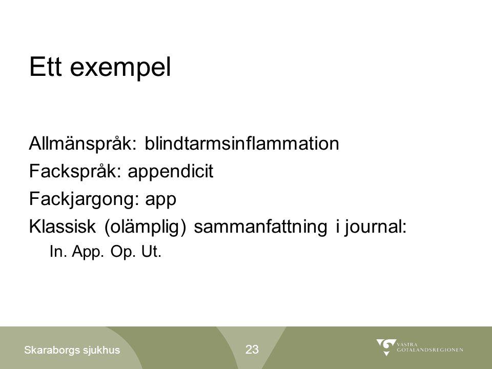 Skaraborgs sjukhus Ett exempel Allmänspråk: blindtarmsinflammation Fackspråk: appendicit Fackjargong: app Klassisk (olämplig) sammanfattning i journal