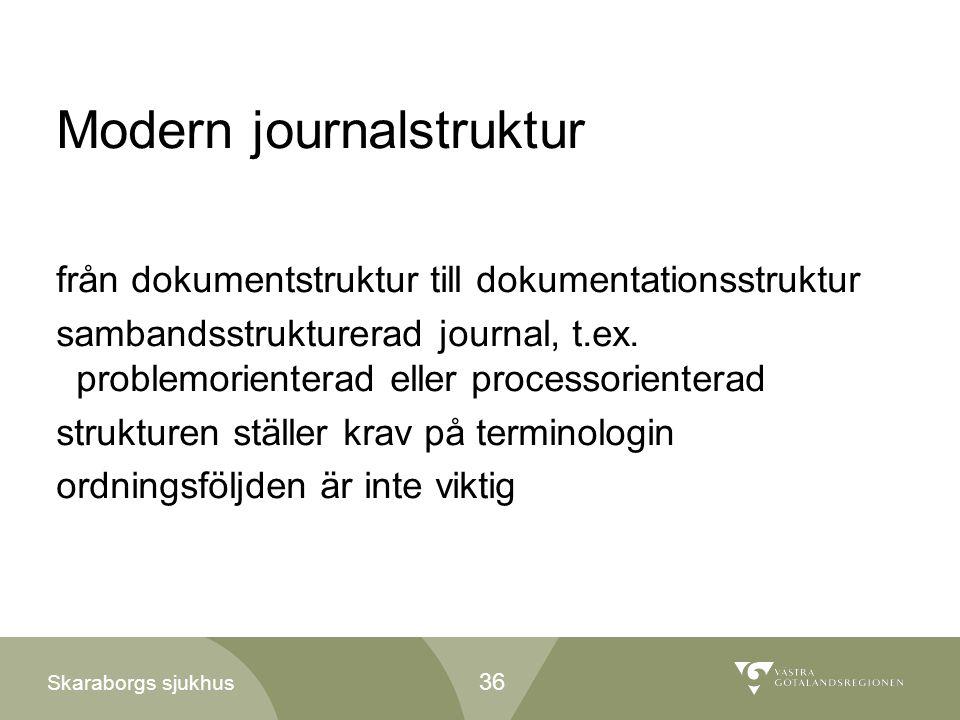 Skaraborgs sjukhus Modern journalstruktur från dokumentstruktur till dokumentationsstruktur sambandsstrukturerad journal, t.ex. problemorienterad elle