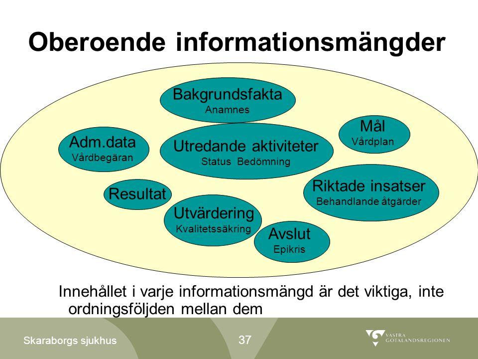 Skaraborgs sjukhus Oberoende informationsmängder Adm.data Vårdbegäran Bakgrundsfakta Anamnes Utredande aktiviteter Status Bedömning Mål Vårdplan Rikta