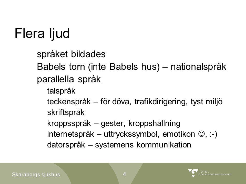 Skaraborgs sjukhus Flera ljud språket bildades Babels torn (inte Babels hus) – nationalspråk parallella språk talspråk teckenspråk – för döva, trafikd