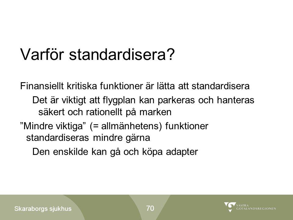 Skaraborgs sjukhus Varför standardisera? Finansiellt kritiska funktioner är lätta att standardisera Det är viktigt att flygplan kan parkeras och hante