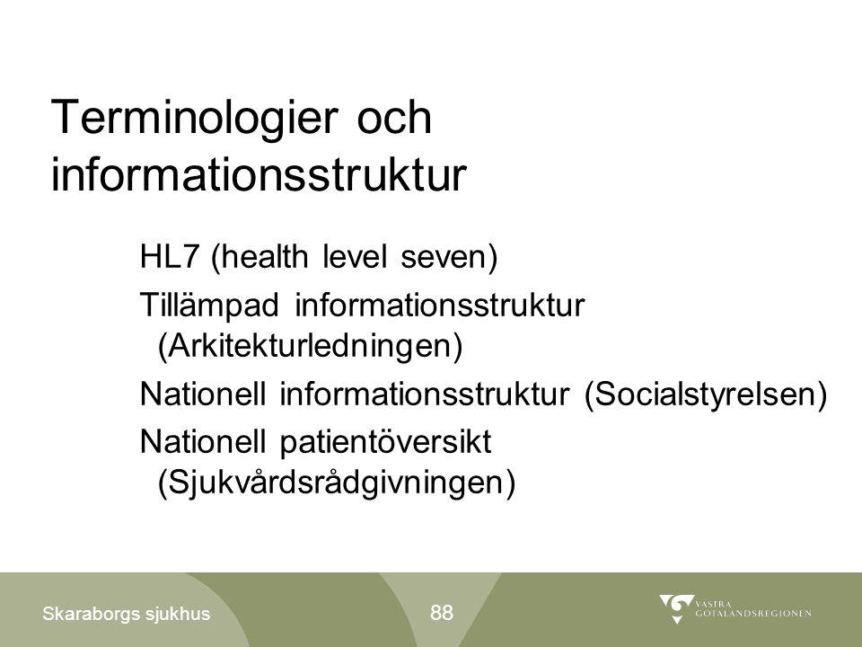 Skaraborgs sjukhus Terminologier och informationsstruktur HL7 (health level seven) Tillämpad informationsstruktur (Arkitekturledningen) Nationell info
