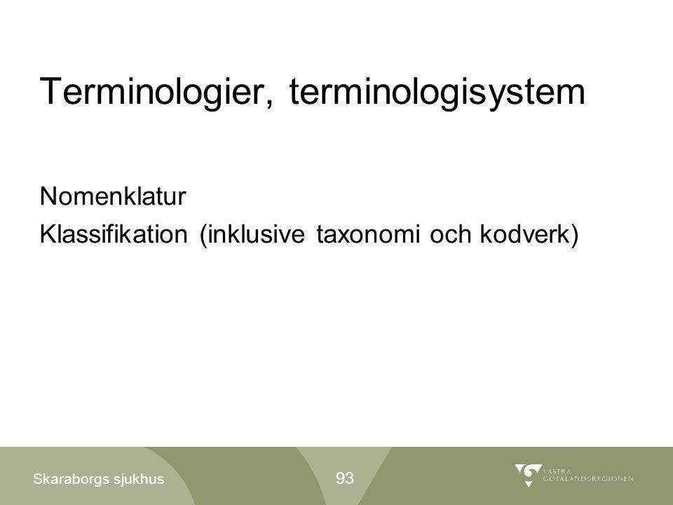 Skaraborgs sjukhus Terminologier, terminologisystem Nomenklatur Klassifikation (inklusive taxonomi och kodverk) 93