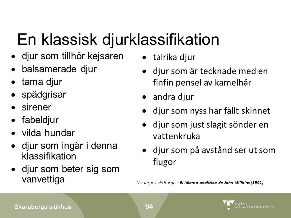 Skaraborgs sjukhus En klassisk djurklassifikation  djur som tillhör kejsaren  balsamerade djur  tama djur  spädgrisar  sirener  fabeldjur  vild