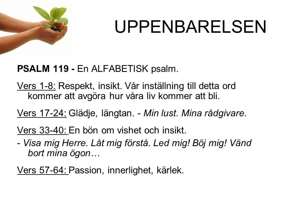 UPPENBARELSEN PSALM 119 - En ALFABETISK psalm. Vers 1-8: Respekt, insikt. Vår inställning till detta ord kommer att avgöra hur våra liv kommer att bli