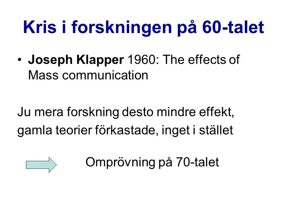 Kris i forskningen på 60-talet Joseph Klapper 1960: The effects of Mass communication Ju mera forskning desto mindre effekt, gamla teorier förkastade,