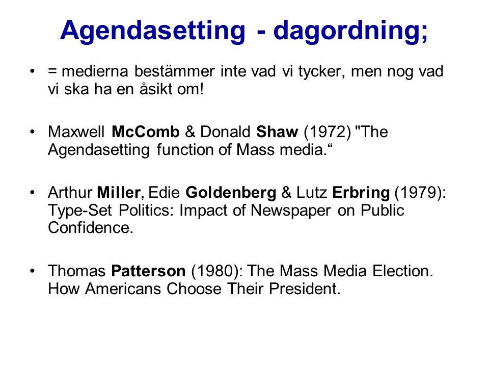 Agendasetting - dagordning; = medierna bestämmer inte vad vi tycker, men nog vad vi ska ha en åsikt om! Maxwell McComb & Donald Shaw (1972)