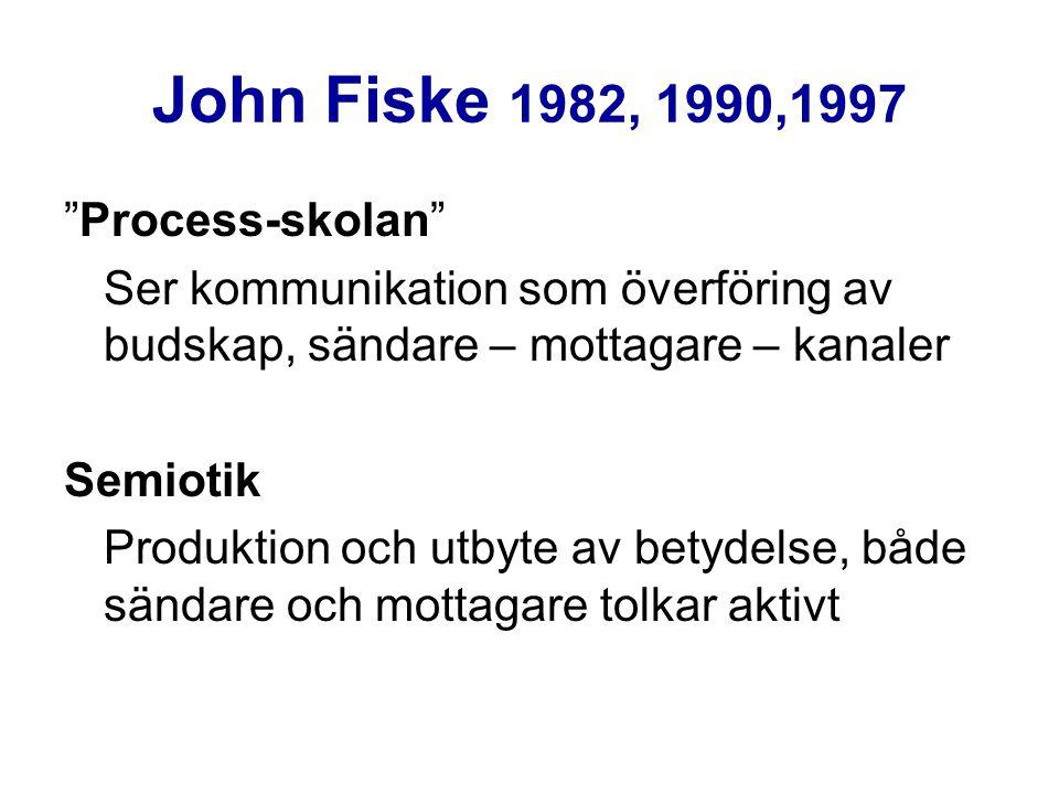 """John Fiske 1982, 1990,1997 """"Process-skolan"""" Ser kommunikation som överföring av budskap, sändare – mottagare – kanaler Semiotik Produktion och utbyte"""