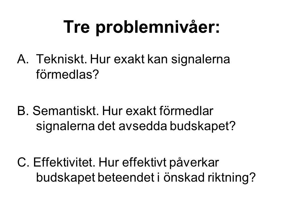 Tre problemnivåer: A.Tekniskt. Hur exakt kan signalerna förmedlas? B. Semantiskt. Hur exakt förmedlar signalerna det avsedda budskapet? C. Effektivite