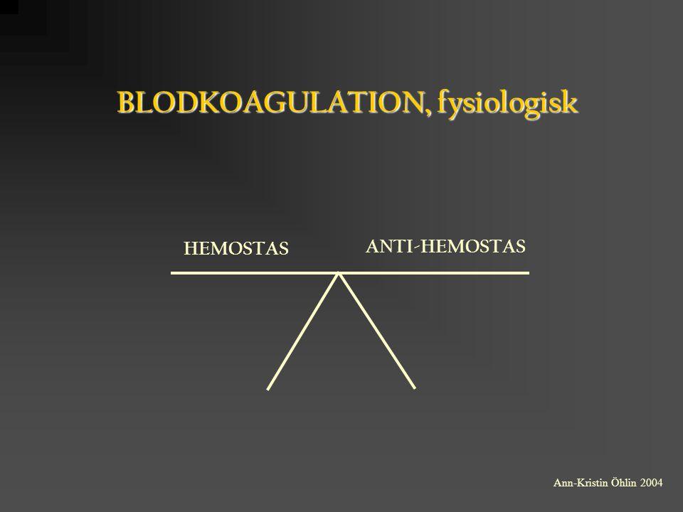 SEKUNDÄR HEMOSTAS SCREENINGANALYSER P-APT-tid mäter intrinsicfaktorernas aktivitet, d v s High Molecular Weight Kininogen, Prekallikrein, fXIIa, fXIa, FIXa, fVIIIa, fXa, fVa och fIIa P-Protrombinkomplex (PK, INR) mäter aktiviteten hos de vitamin K beroende koagulationsfaktorerna (fVIIa, fXa och fIIa) Ann-Kristin Öhlin 2004