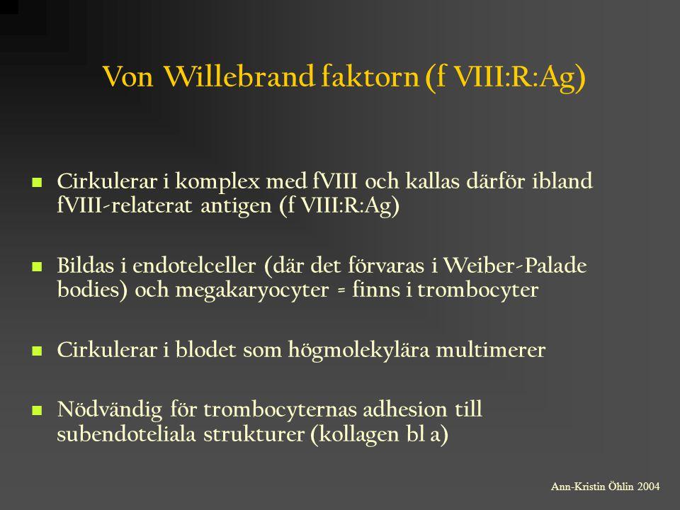 Von Willebrand faktorn (f VIII:R:Ag) Cirkulerar i komplex med fVIII och kallas därför ibland fVIII-relaterat antigen (f VIII:R:Ag) Bildas i endotelcel