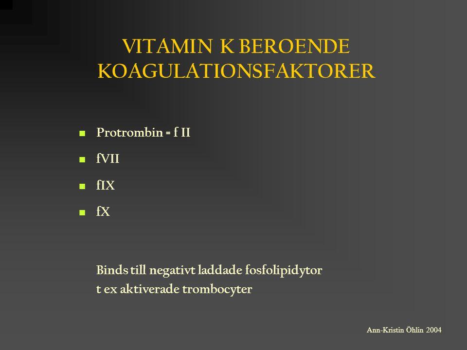 VITAMIN K BEROENDE KOAGULATIONSFAKTORER Protrombin = f II fVII fIX fX Binds till negativt laddade fosfolipidytor t ex aktiverade trombocyter Ann-Krist