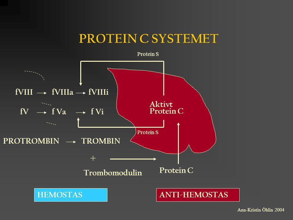 PROTEIN C SYSTEMET ANTI-HEMOSTASHEMOSTAS Aktivt Protein C Trombomodulin Protein C PROTROMBINTROMBIN fVIIIfVIIIafVIIIi fVf Vaf Vi + Protein S Ann-Krist