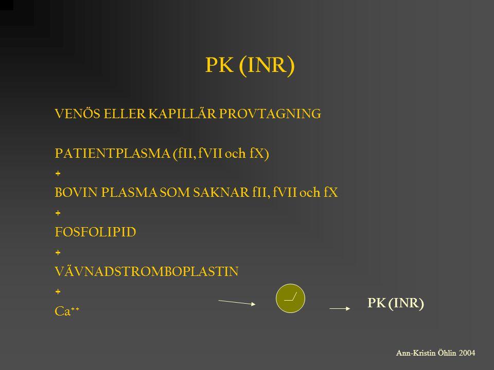 PK (INR) VENÖS ELLER KAPILLÄR PROVTAGNING PATIENTPLASMA (fII, fVII och fX) + BOVIN PLASMA SOM SAKNAR fII, fVII och fX + FOSFOLIPID + VÄVNADSTROMBOPLAS