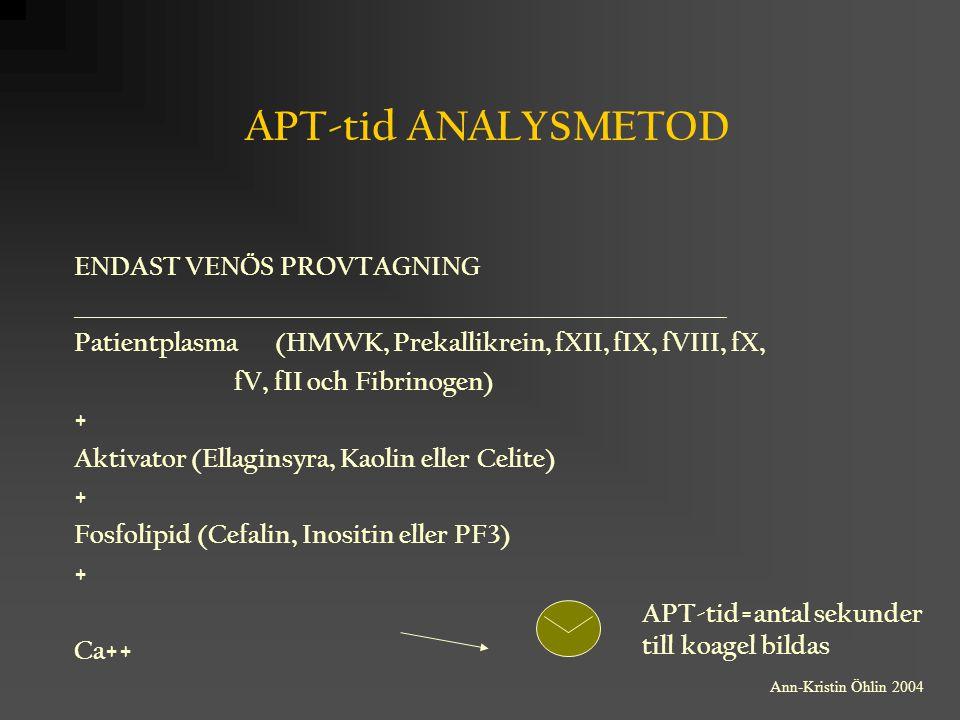 APT-tid ANALYSMETOD ENDAST VENÖS PROVTAGNING ____________________________________________________________ Patientplasma (HMWK, Prekallikrein, fXII, fI