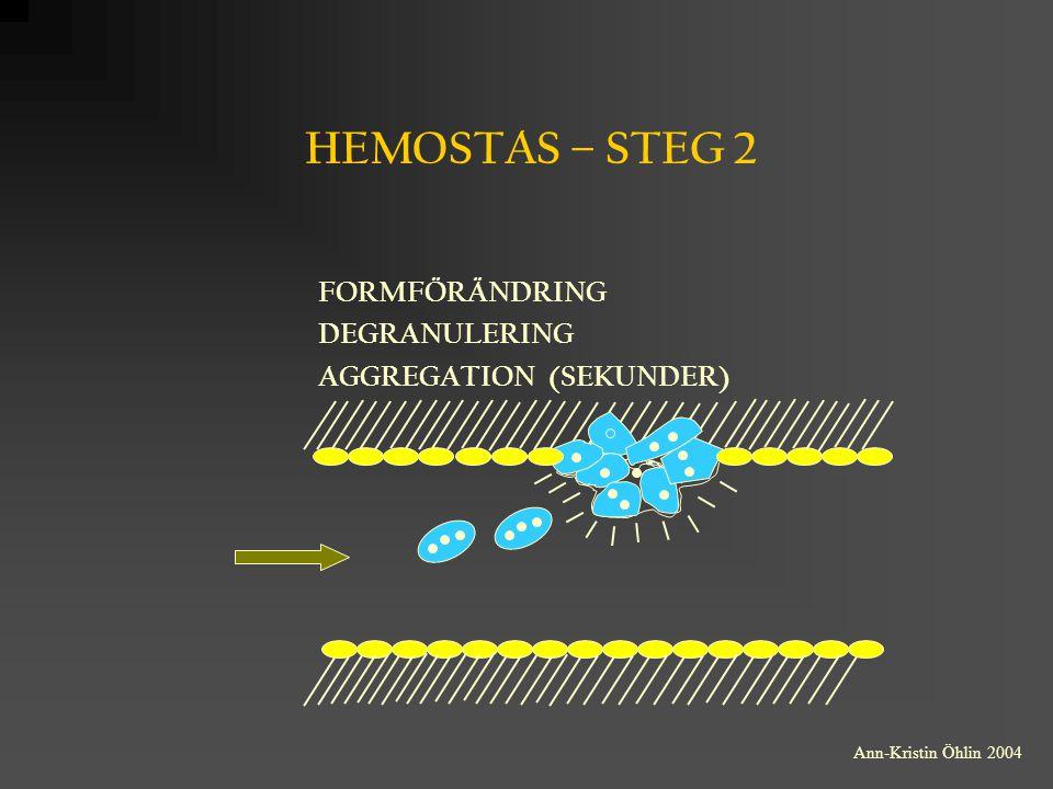 HEMOSTAS – STEG 2 FORMFÖRÄNDRING DEGRANULERING AGGREGATION (SEKUNDER) Ann-Kristin Öhlin 2004