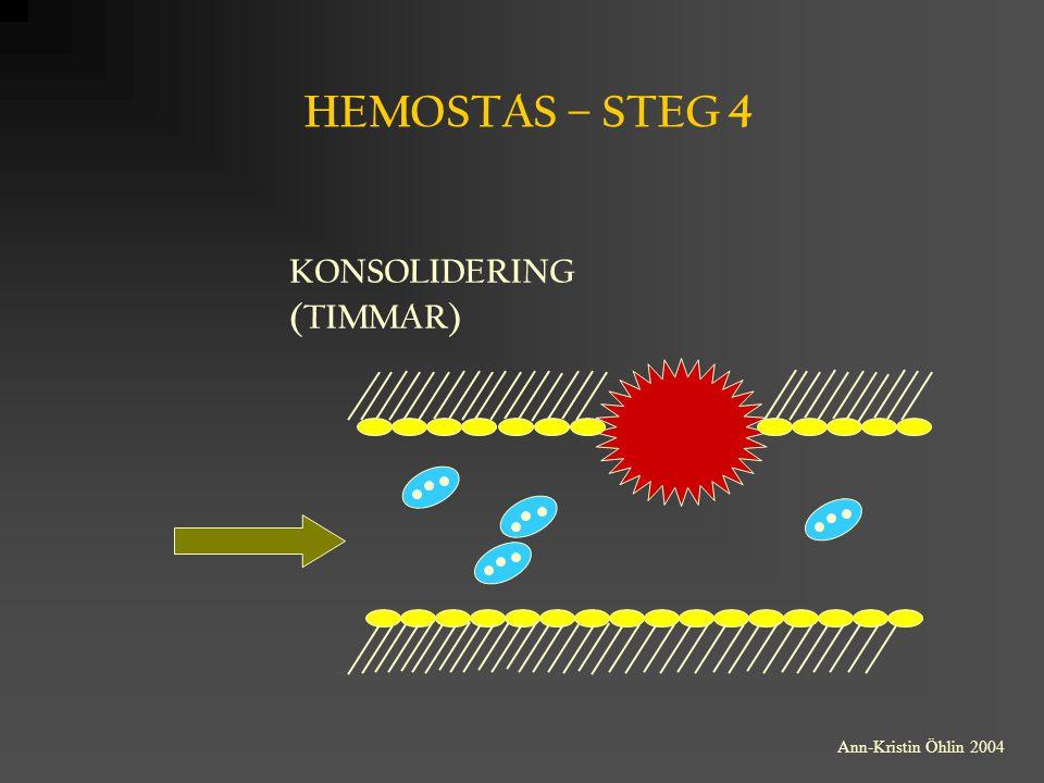 TROMBOCYTER Trombocyterna bildas från benmärgens megakaryocyter Det finns normalt 150-350 x 10 9 /L trombocyter i perifert blod Medellivslängden för trombocyten är 9-10 dagar i perifert blod Trombocyterna saknar cellkärna = har ingen proteinsyntes Trombocyterna innehåller:   -Granula med: fibrinogen, PDGF (platelet derived growth factor), fV (koagulationsfaktor V), vWf (von Willebrand faktorn), trombospondin, trombocytfaktor 4,  -tromboglobulin m fl  Dense bodies med: ADP, ATP, Ca 2+, serotonin m fl Ann-Kristin Öhlin 2004