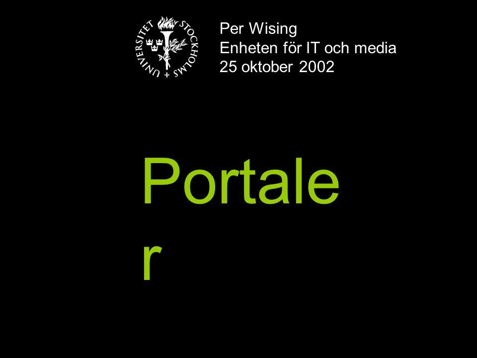 Per Wising Enheten för IT och media 25 oktober 2002 Portale r