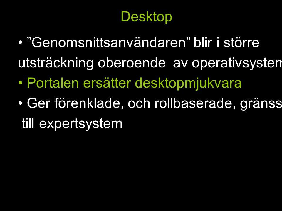 Desktop Genomsnittsanvändaren blir i större utsträckning oberoende av operativsystem Portalen ersätter desktopmjukvara Ger förenklade, och rollbaserade, gränssnitt till expertsystem