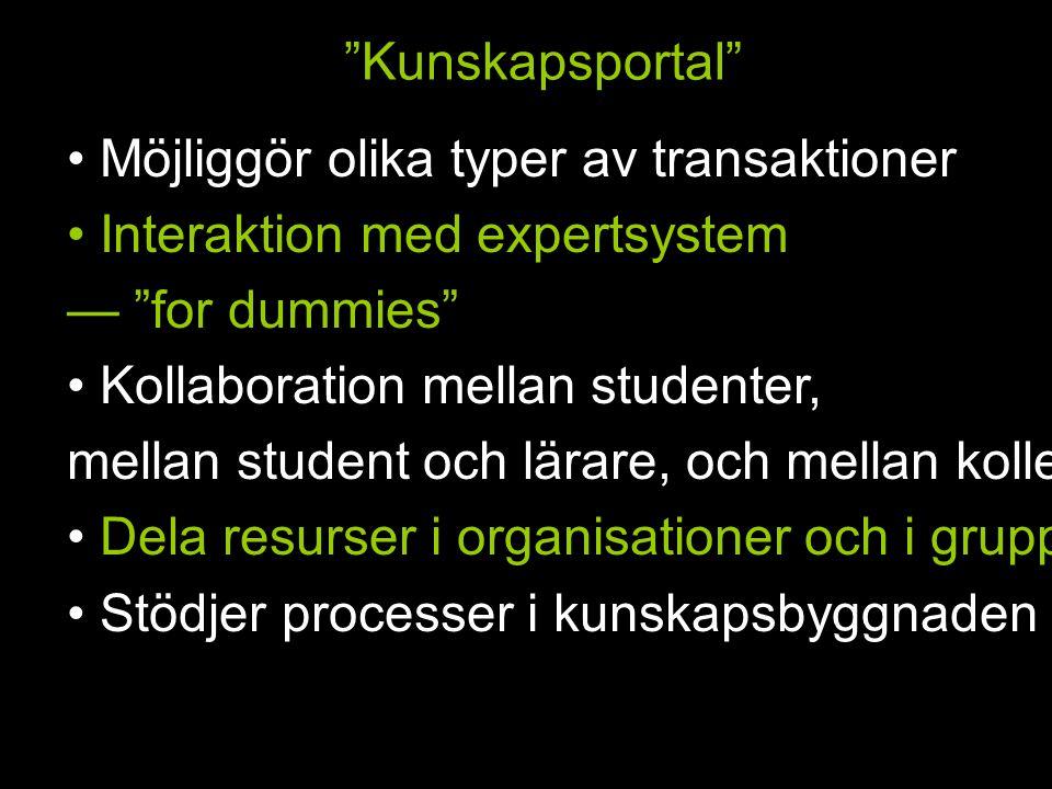 Kunskapsportal Möjliggör olika typer av transaktioner Interaktion med expertsystem — for dummies Kollaboration mellan studenter, mellan student och lärare, och mellan kollegor Dela resurser i organisationer och i grupper Stödjer processer i kunskapsbyggnaden