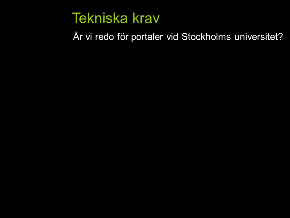 Tekniska krav Är vi redo för portaler vid Stockholms universitet HemFlik 2Flik 3Flik 4Flik 5