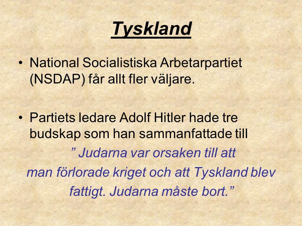 Tyskland National Socialistiska Arbetarpartiet (NSDAP) får allt fler väljare. Partiets ledare Adolf Hitler hade tre budskap som han sammanfattade till