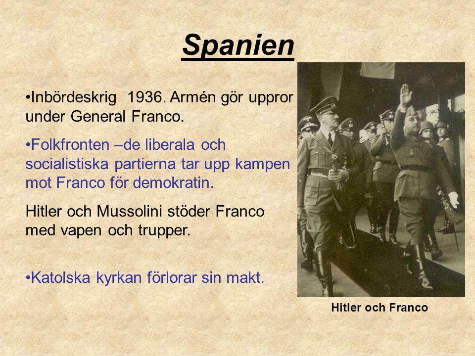 Spanien Inbördeskrig 1936. Armén gör uppror under General Franco. Folkfronten –de liberala och socialistiska partierna tar upp kampen mot Franco för d