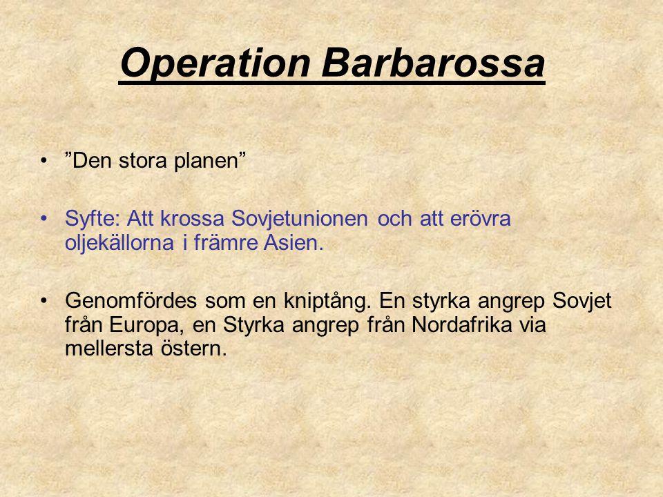 """Operation Barbarossa """"Den stora planen"""" Syfte: Att krossa Sovjetunionen och att erövra oljekällorna i främre Asien. Genomfördes som en kniptång. En st"""