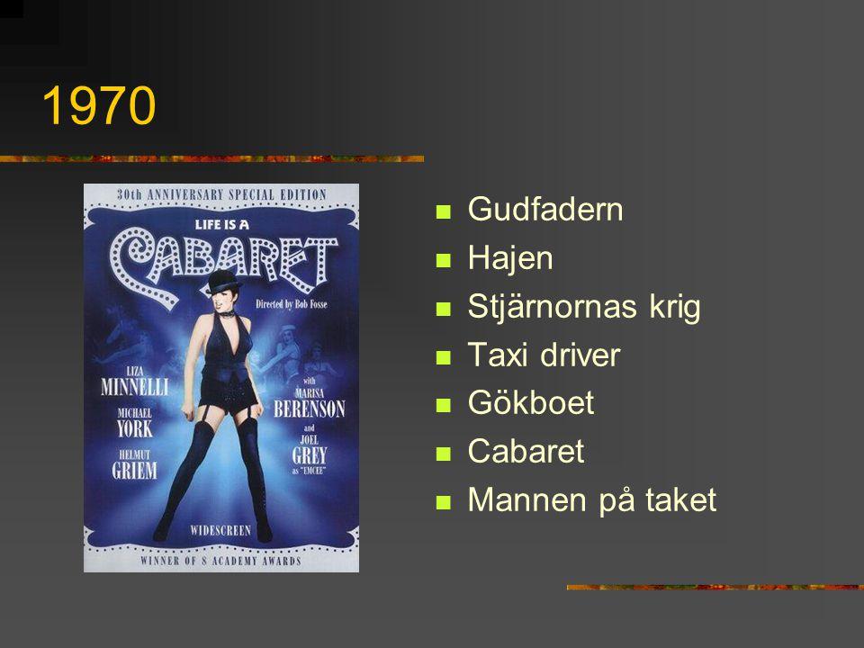 1970 Gudfadern Hajen Stjärnornas krig Taxi driver Gökboet Cabaret Mannen på taket