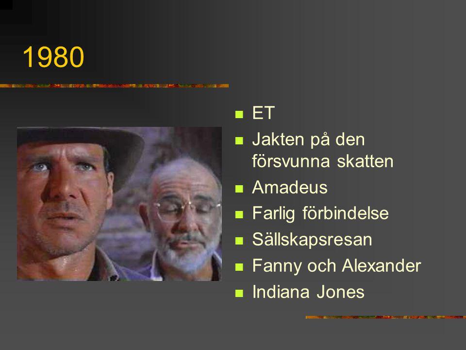 1980 ET Jakten på den försvunna skatten Amadeus Farlig förbindelse Sällskapsresan Fanny och Alexander Indiana Jones