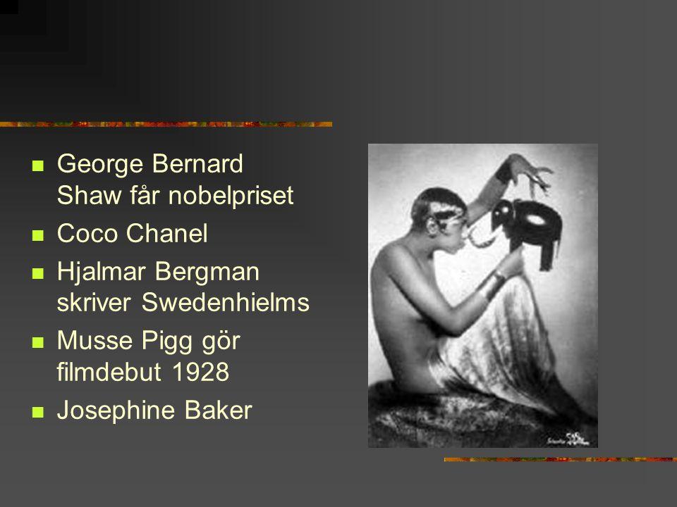 George Bernard Shaw får nobelpriset Coco Chanel Hjalmar Bergman skriver Swedenhielms Musse Pigg gör filmdebut 1928 Josephine Baker