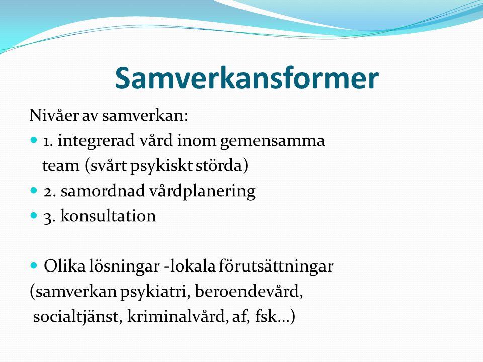 Samverkansformer Nivåer av samverkan: 1. integrerad vård inom gemensamma team (svårt psykiskt störda) 2. samordnad vårdplanering 3. konsultation Olika