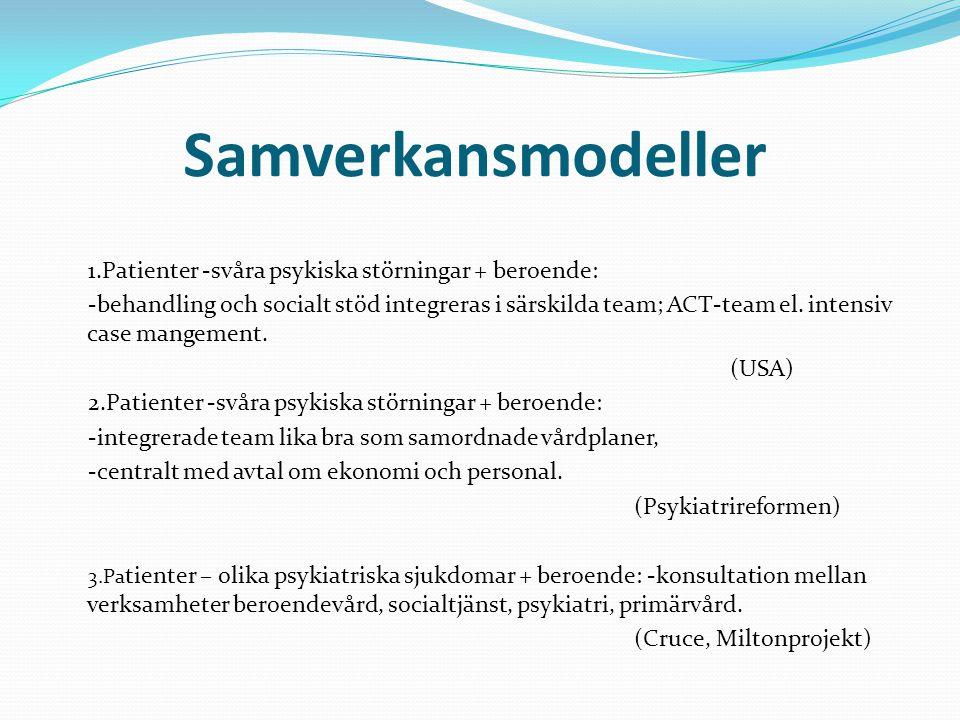 Samverkansmodeller 1.Patienter -svåra psykiska störningar + beroende: -behandling och socialt stöd integreras i särskilda team; ACT-team el. intensiv