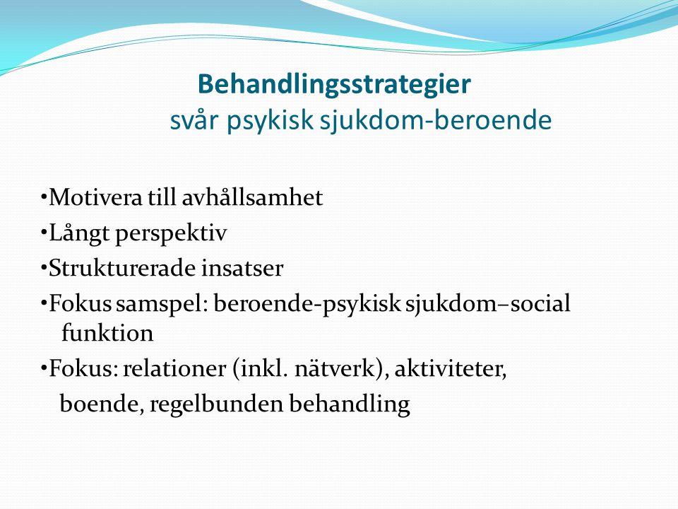 Behandlingsstrategier svår psykisk sjukdom-beroende Motivera till avhållsamhet Långt perspektiv Strukturerade insatser Fokus samspel: beroende-psykisk