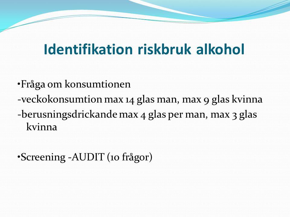 Identifikation riskbruk alkohol Fråga om konsumtionen -veckokonsumtion max 14 glas man, max 9 glas kvinna -berusningsdrickande max 4 glas per man, max