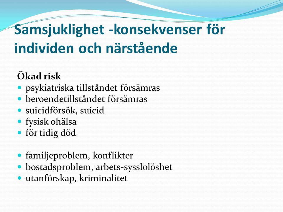 Samsjuklighet -konsekvenser för individen och närstående Ökad risk psykiatriska tillståndet försämras beroendetillståndet försämras suicidförsök, suic