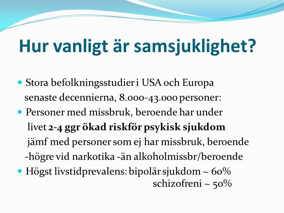 Hur vanligt är samsjuklighet? Stora befolkningsstudier i USA och Europa senaste decennierna, 8.000-43.000 personer: Personer med missbruk, beroende ha