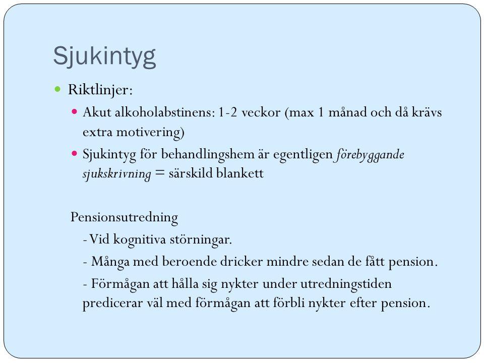 Sjukintyg Riktlinjer: Akut alkoholabstinens: 1-2 veckor (max 1 månad och då krävs extra motivering) Sjukintyg för behandlingshem är egentligen förebyg
