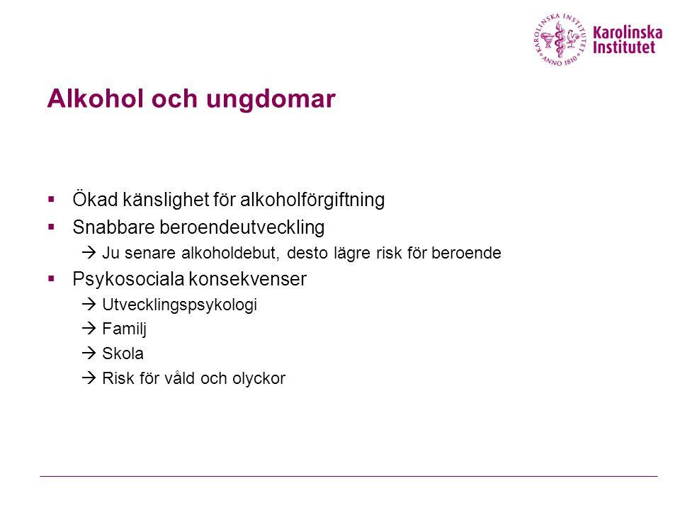 Alkohol och ungdomar  Ökad känslighet för alkoholförgiftning  Snabbare beroendeutveckling  Ju senare alkoholdebut, desto lägre risk för beroende 