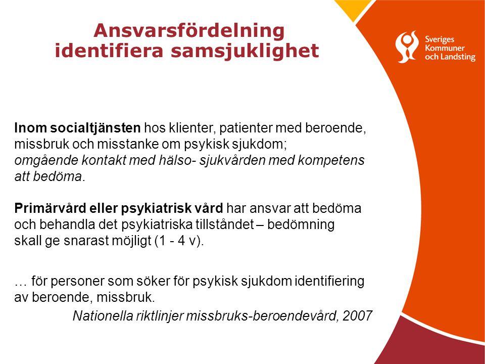Ansvarsfördelning identifiera samsjuklighet Inom socialtjänsten hos klienter, patienter med beroende, missbruk och misstanke om psykisk sjukdom; omgående kontakt med hälso- sjukvården med kompetens att bedöma.